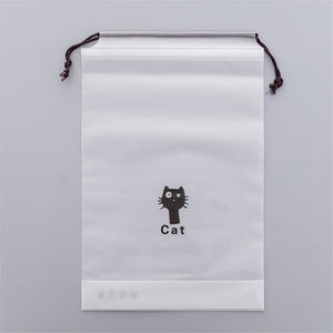 Transparent Drawstring Cats Cosmetic Bag