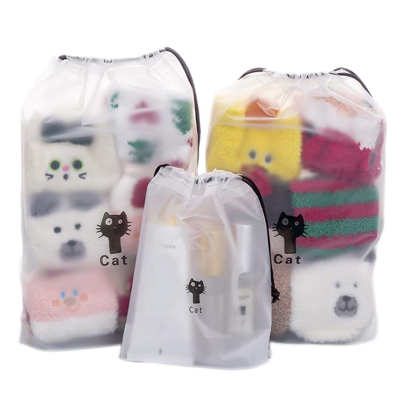 Load image into Gallery viewer, Transparent Drawstring Cats Cosmetic Bag