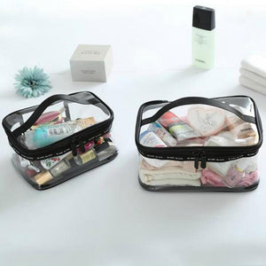 Clear PVC Toiletry and Makeup Carry-On Bag Set