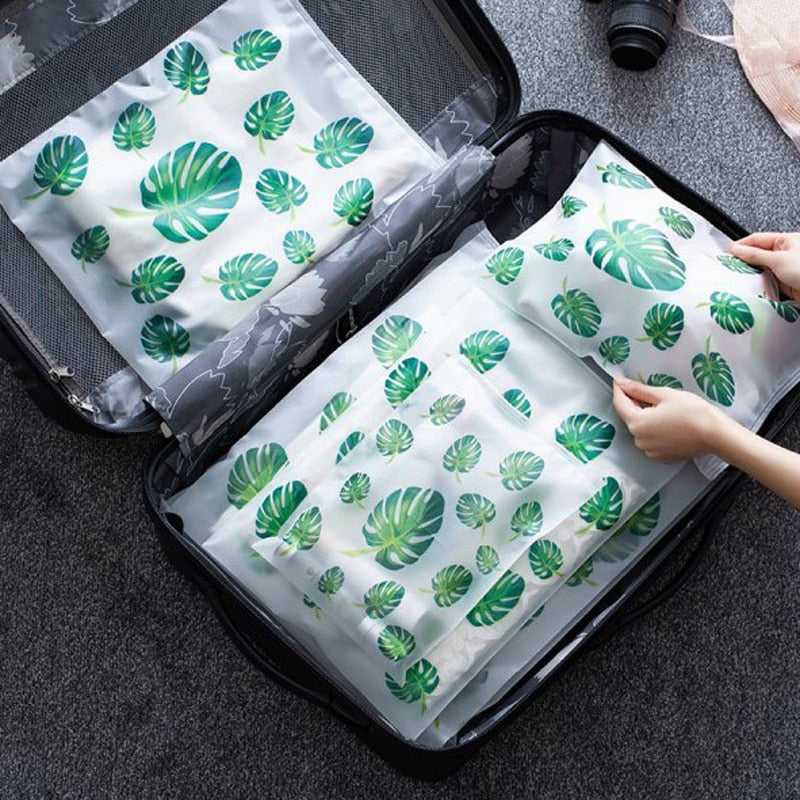 Transparent Plant Travel Makeup Bag