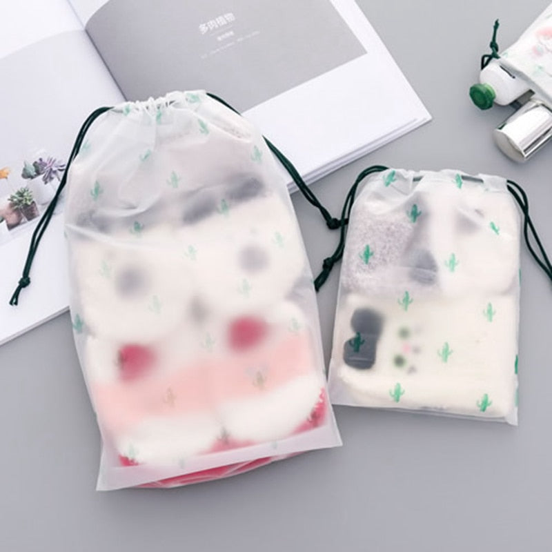 Load image into Gallery viewer, Transparent Drawstring Cactus Cosmetic Bag