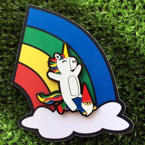 Unicorn & Gnome Enamel Pin