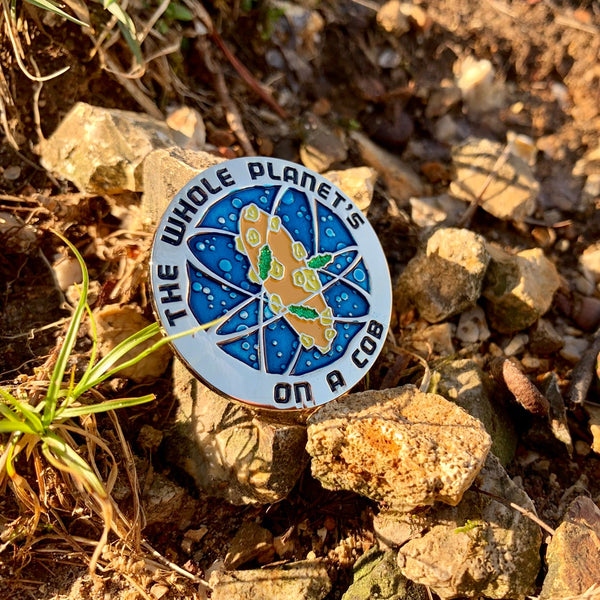 Cob Planet Enamel Pin