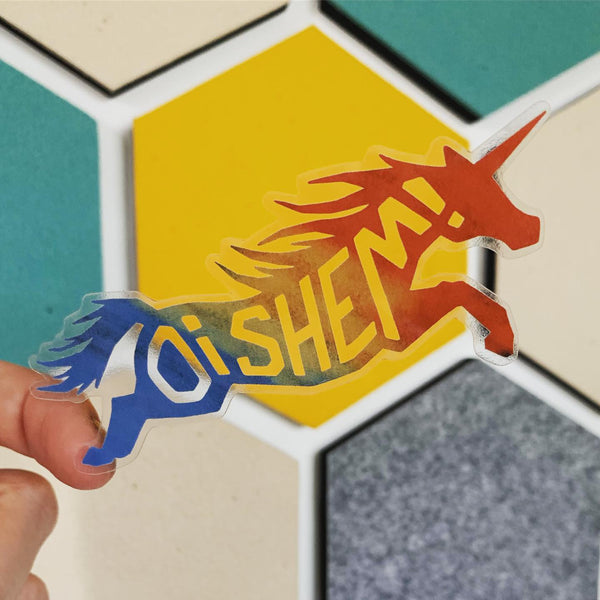 Oi Shem! Unicorn Clear Vinyl Stickers