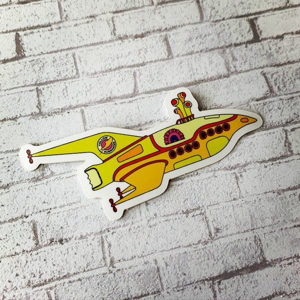 Yellow Spaceship Vinyl Sticker