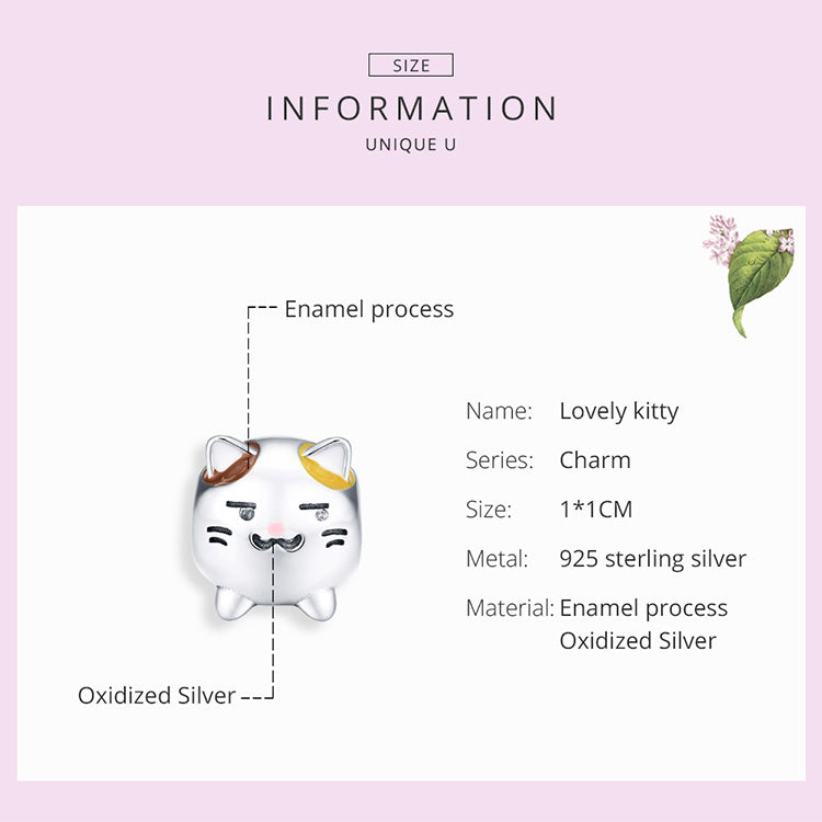 Lucky Kitty 925 Sterling Silver Bead Charm
