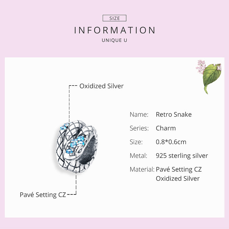 Snake  925 Sterling Silver Bead Charm