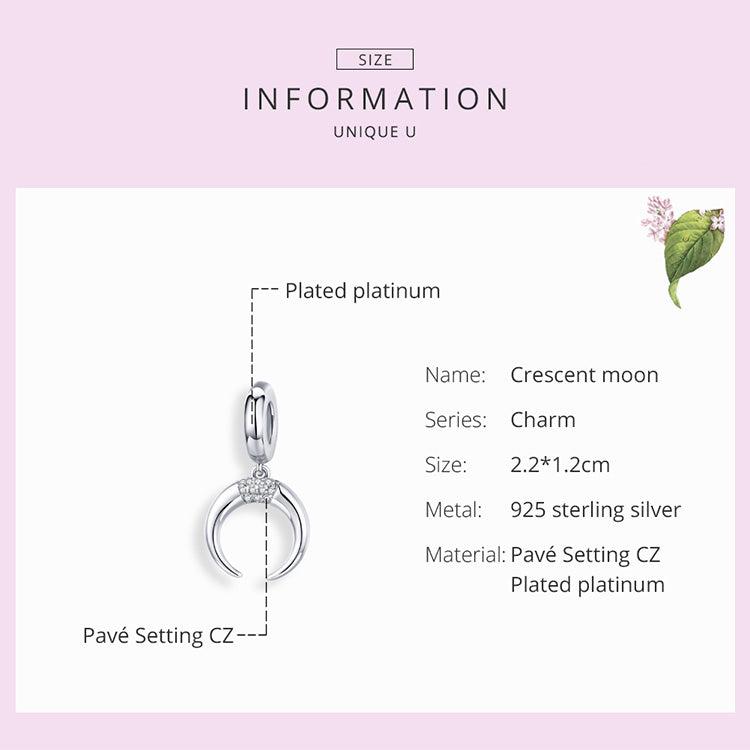 Crescent Moon 925 Sterling Silver Dangle Charm