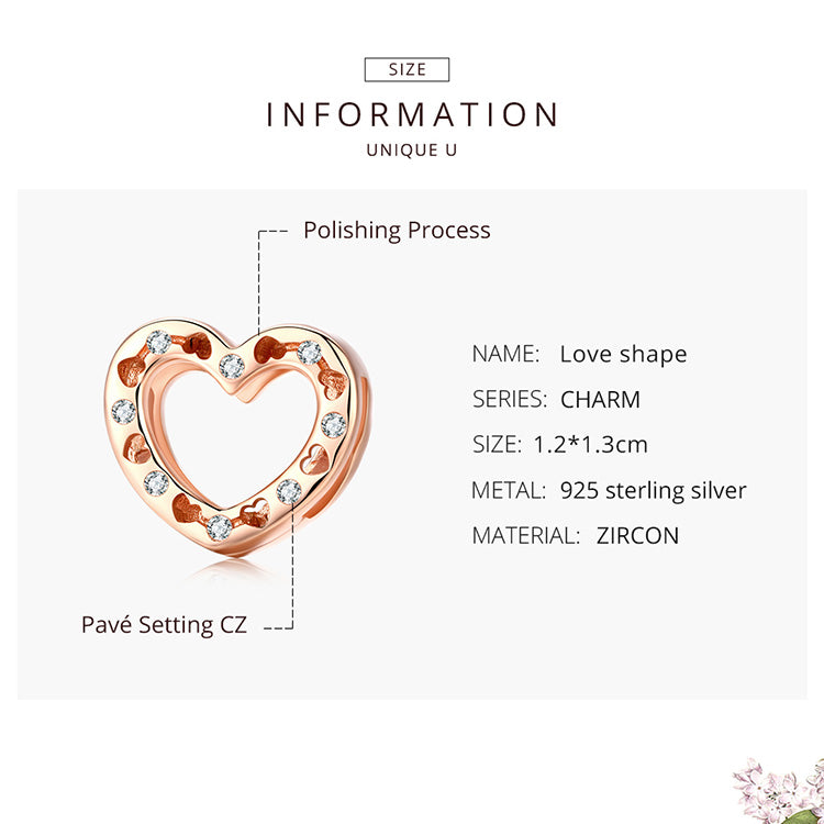 Forever Love 925 Sterling Silver Clip Charm