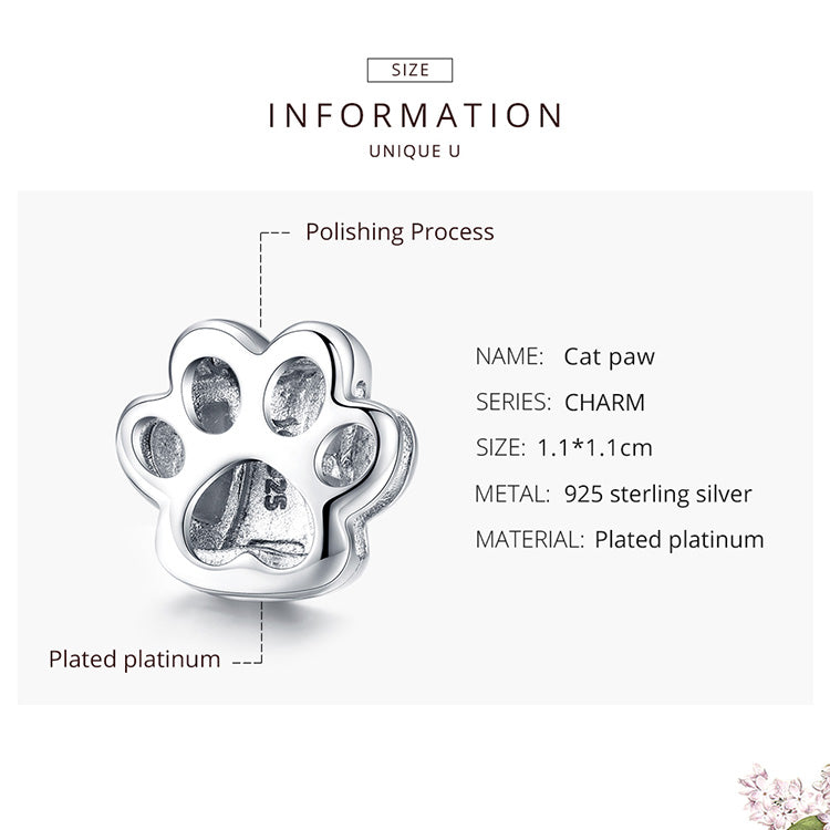 Cat Paw 925 Sterling Silver Clip Charm