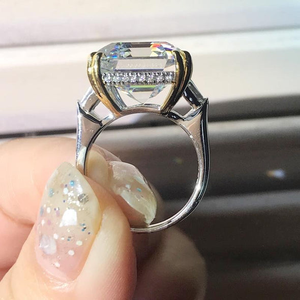 14.0 CT Emerald Cut Sterling Silver Ring - jolics