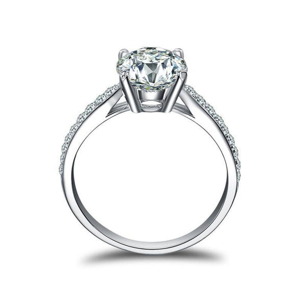 2.0CT Classic Round Cut Ring with Accents - jolics
