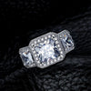 Princess Cut Halo Three Stone Engagement Ring - jewel-inside