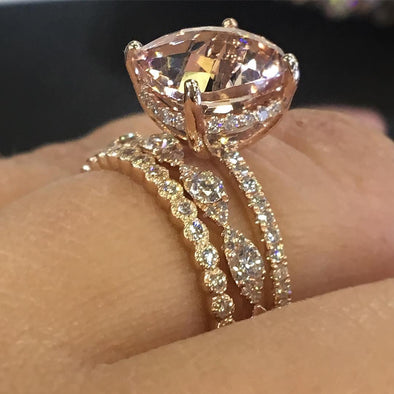 4 CT Rose Gold Cushion Cut 3pc Sterling Silver Set With Marquise Shape Milgrain Band - jolics