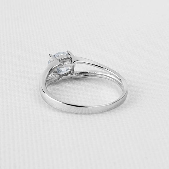 Round Cut Split Sterling Silver Ring - jewel-inside