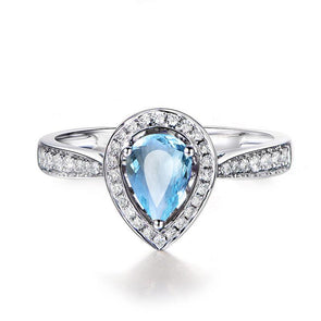 1ct Pear Cut Natural Topaz Sliver Ring - jewel-inside