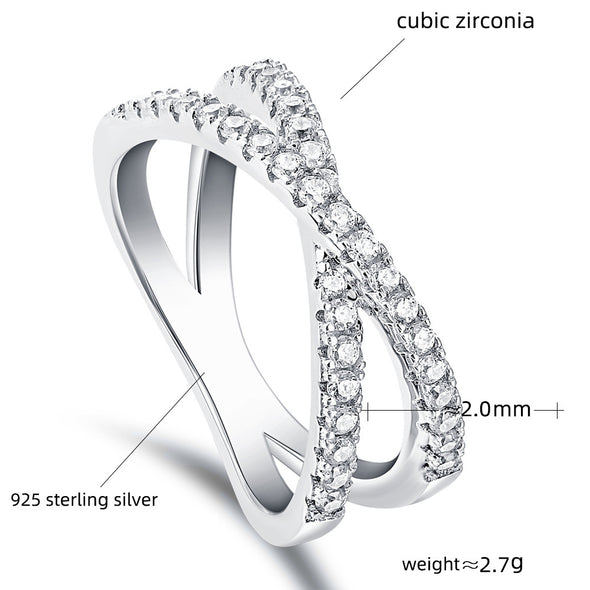 Criss-Cross White Sapphire Silver Wedding Band