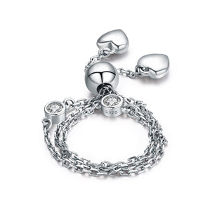 925 Sterling Silver Adjustable Finger Chain Bracelet Ring - jolics