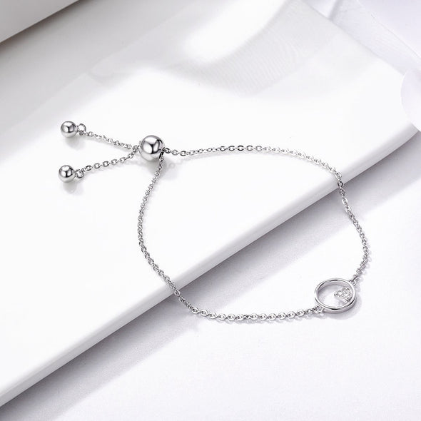 925 Sterling Silver Hollow Heart Infinity Circle Chain Bracelet - jolics
