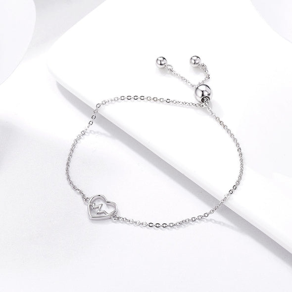 925 Sterling Silver Racing Heart Beaded Chain Bracelet - jolics