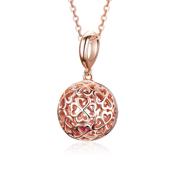 Rose Gold Clover Ball 925 Sterling Silver Dangle Charm