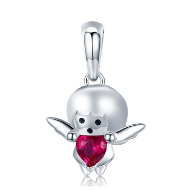 Angle Girl 925 Sterling Silver Dangle Charm - jolics