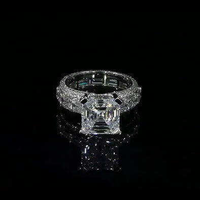 Asscher Cut 925 Sterling Silver Classic Engagement Ring - jolics