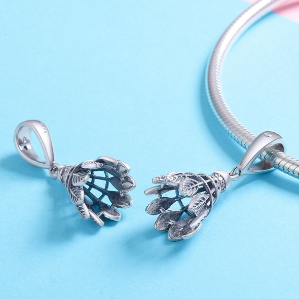 Badminton Heart 925 Sterling Silver Dangle Charm - jolics