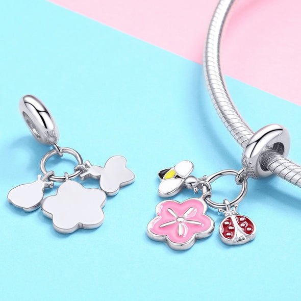 Bee&Ladybird 925 Sterling Silver Dangle Charm - jolics