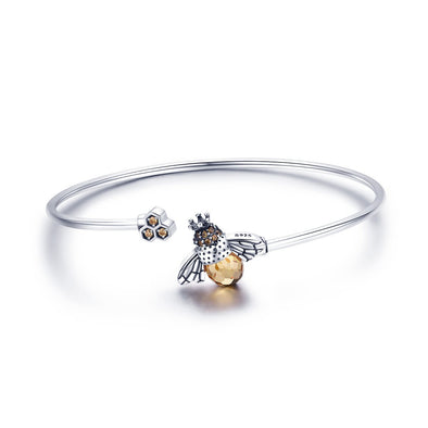 Bees 925 Sterling Silver Open Bangle - jolics