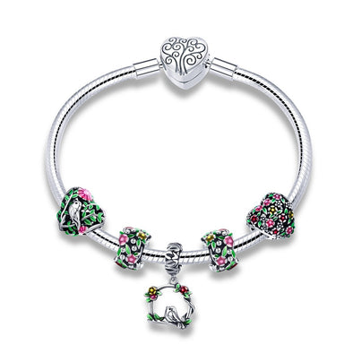 Birds & Flowers 925 Sterling Silver Beads Bracelet - jolics