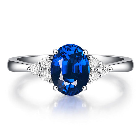 Blue Oval Cut 925 Sterling Silver Ring - jolics