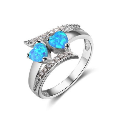 Blue Spinel 925 Sterling Silver Double Heart Design Ring - jolics