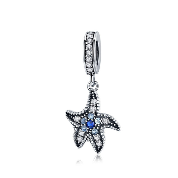 Blue Starfish 925 Sterling Silver Dangle Charm - jolics