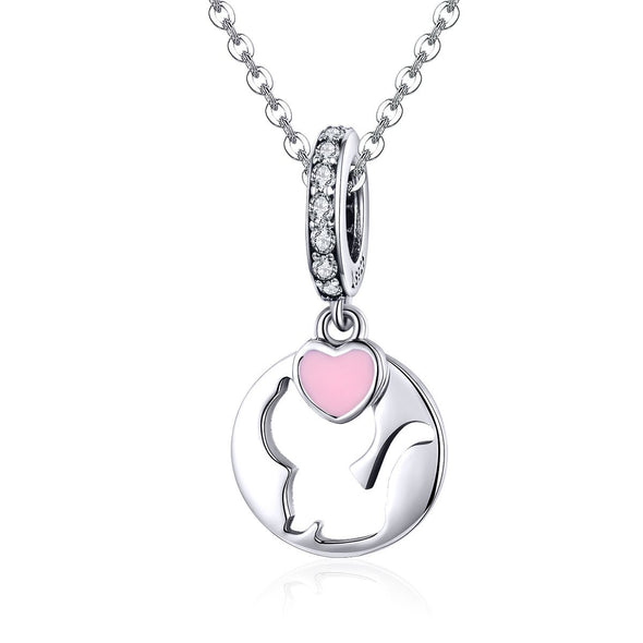 Cat with Heart 925 Sterling Silver Dangle Charm - jolics