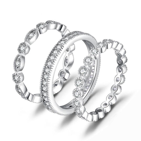 Chic Eternity Stackable 925 Sterling Silver Ring Set - jolics