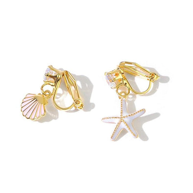 Chic Starfish&Shell Clip Earrings - jolics