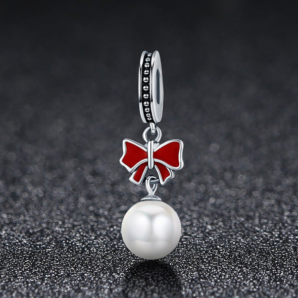 Christmas Bow with Pearl 925 Sterling Silver Spacer Charm - jolics