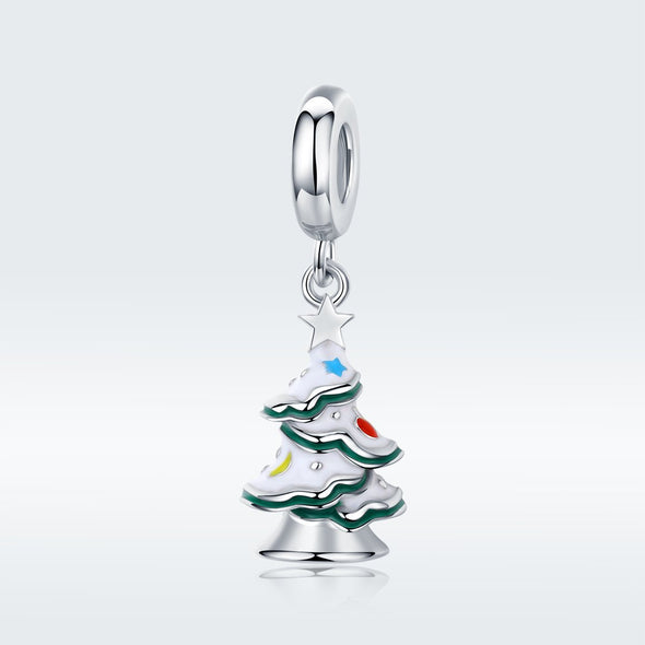 Christmas Tree 925 Sterling Silver Dangle Charm - jolics