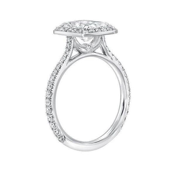 Classic Halo Radiant Cut Sterling Silver Ring - jolics