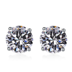 Classic Moissanite Stone 4 Prong Silver Stud Earrings - jolics