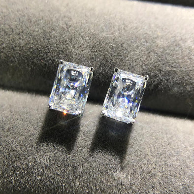 Classic Princess Cut Sterling Silver Stud Earrings - jolics