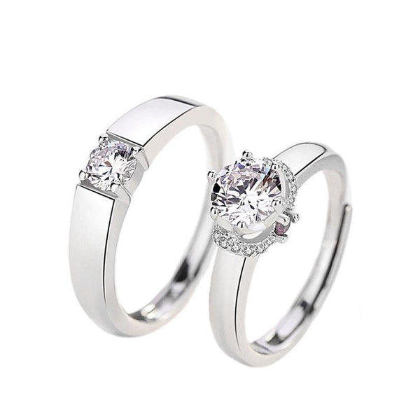 Classic Round Cut Couple Rings - jolics