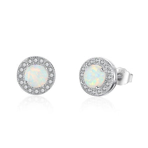 Classic Round Halo White Silver Earrings - jolics