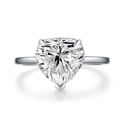 Classic Under Halo Heart Cut 925 Sterling Silver Engagement Ring - jolics