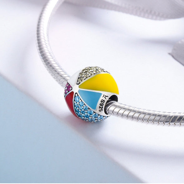 Colorful Rubber Ball 925 Sterling Silver Charm - jolics