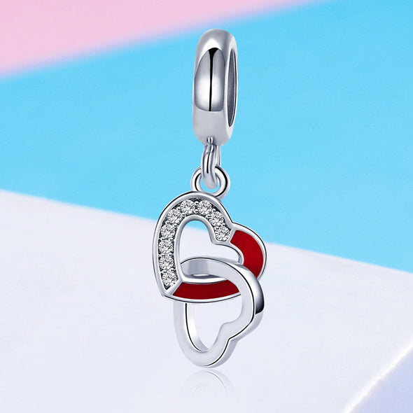Connected Hearts 925 Sterling Silver Dangle Charm - jolics