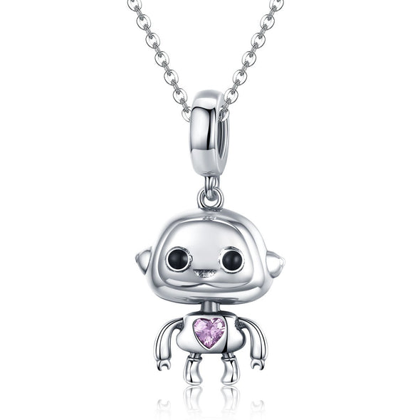 Cute Robot 925 Sterling Silver Dangle Charm - jolics