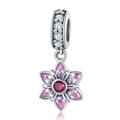 Dancing Flower 925 Sterling Silver Dangle Charm - jolics