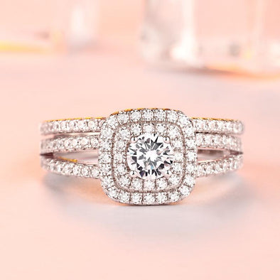 Double Halo Round Cut Wedding Set - jolics